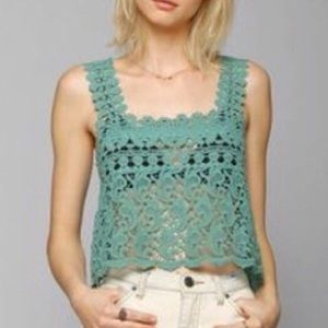 Anthropologie Staring at Stars Crochet Aqua Top